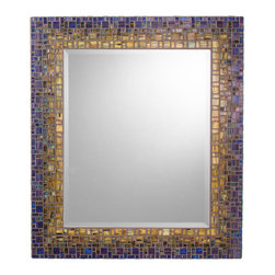 Classic Collection Mosaic Mirrors - Custom glass mosaic mirror featuring a beveled edge center mirror and a sage green, blue/green, and deep blue color scheme.  Custom sizes available; pricing depends on size.  Available in square or rectangular frame options.