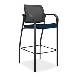 Hon - Ignition Cafe Stool - If the best part of your work day ending is happy hour, this may be just the thing to perk up your office routine. It's a bar-height stool with a curved mesh back, fabric covered seat cushion and footrest. Cheers, office mates!