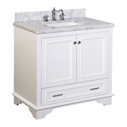 Kitchen Bath Collection - Nantucket 36-in Bath Vanity (Carrara/White) - This bathroom vanity set by Kitchen Bath Collection includes a white cabinet with soft close drawers, double thick Carrara marble countertop, double undermount ceramic sinks, pop-up drains, and P-traps. Order now and we will include the pictured three-hole faucets and a matching backsplash as a free gift! All vanities come fully assembled by the manufacturer, with countertop & sink pre-installed.