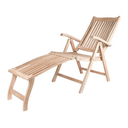 None - Solid Teak New Style Lounge Chair with Detachable Footrest - This solid teak lounger can be converted to recliner and the foot rest can be removed. This is a very versatile and modern outdoor chair that is sure to enhance any patio or yard decor.