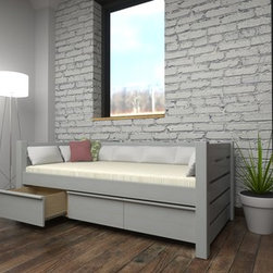 Eco-Friendly Modern Day Bed with Drawers - Maine Loft Collection - Nontoxic Day Bed by Maine Bunk Beds.  Available in milk paint & clay paint finishes.
