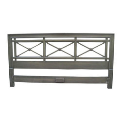 Neo-Classical King Headboard with Brass Accents - We love this vintage king-size headboard in a Neoclassical-style. It has a grey green finish and wonderful X cutouts and brass button accents. The right piece to make your bed fit for a king!