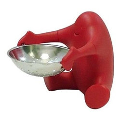 "Alessi - Alessi Teo Tea Strainer - It's always nice to have some help in the kitchen. This little guy will be there to hold this inventive tea-leaf strainer every time. Say, ""Thanks,"" as you place your cup under the strainer to collect the extracted flavor."