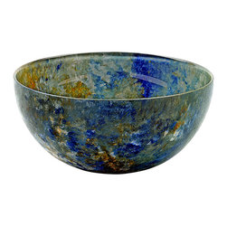 Hand-Crafted Glass Bowl, Xlarge, Ocean Breeze - These hand-painted bowls are in our Ocean Breeze line with colors of blues, sandy yellow, and a touch of white. Reminiscent of the ocean. Perfect for your serving needs.