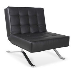 RED LIVING - Wave One Black Lounge Chair - The Wave One Lounge Chair brings Italian design and great comfort to your home and office. It's back can be folded down to form a bench, making the Wave One Lounge Chair perfect for entertaining guests.
