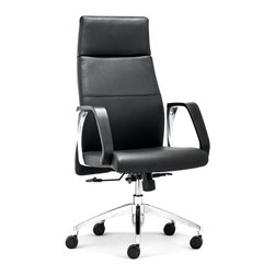 Zuo Modern - Zuo Modern Conductor Modern High Back Office Chair X-590602 - Very office chic, the Conductor Office Chair makes the day go faster. Plush leatherette on a rolling steel frame, the back is perfectly angled for comfort. Comes in high or low, sold separately.