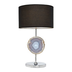 "RabLabs - RabLabs Luce Agate Lamp - The sleek RabLabs Luce table lamp marries natural stones with bold modernity. Beneath a contemporary black shade, this fixture features suspended shimmering agate for lasting allure. 10.5""W x 10.5""D x 22""H; Accepts one 100W, type A bulb; Natural agate; Chrome-plated metal; Black fabric shade; Due to natural stone, product varies and may not be exactly as shown"