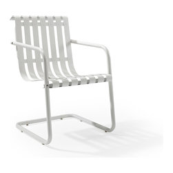 Crosley Furniture - Crosley Furniture Gracie Retro Spring Chair in Alabaster White - Prepare to be swept back in time by the new Gracie chair from Crosley.  This unique chair uses a simple cantilevered design to cradle a person comfortably in place, allowing them to gently bounce away the frustrations of their day.  Made of durable steel, the chair is expertly powder coated to withstand whatever the elements can throw at it.  Available in 4 playful colors, the Gracie is certain to become the best seat in the house.