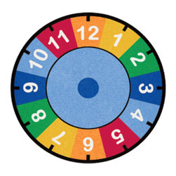 """Learning Carpets - Learning Carpets Indoor Outdoor Playmat Clock - CPR529 Round 6'6"""" - Colorful clock. Aids in color, number and time identification. Available in two sizes of each shape. Anti-Microbial Treatment: The Anti-Microbial treatment is a durable """"locked-in"""" feature that is incorporated into the backing composite of all our rugs to minimize product deterioration and odors caused by microbial activity. This enhancement minimizes the opportunity for product-deteriorating microbial activity in the backing or beneath the carpet. This feature has been tested for effectiveness and safety. In addition, this anti microbial treatment remains active for the life of the carpet under normal use and with routinely accepted maintenance. All our Cut Pile Rug designs are available in various shapes and sizes. Lifetime Limited Wear Warranty. 10-year soil and stain protection. Lifetime anti-static fiber. High twist 100% nylon - prevents matting and crushing. Flexible back resists wrinkling. Triple Felt Backing. Double Stitching. Guaranteed Lowest Cost in the Industry. No Minimum Order Required. Superb Customer Service. Drop Shipping Available. Made in Holland."""