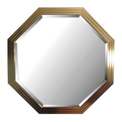 Pre-owned Large 1970s Glam Brass Hexagonal Mirror - A massive 1970s hexagonal brass mirror with glamour to spare! This is a heavy, high quality piece--maker and designer unknown. The mirror has beveled edges and a brass frame with a three tier waterfall edge.    The mirror is in exceptional condition with no issues at all. It is showroom ready!