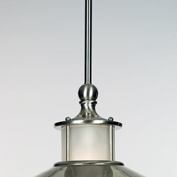 Quoizel Lighting - Quoizel NA1510BN New England 1 Light Mini Pendant, Brushed Nickel - Long Description: This style gives a nod to timeless style of the magnificent ocean liners of the 1920s and 1930s, but is updated for the homes of today. A handsome classic that is always in fashion.