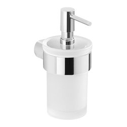 Gedy - Wall Mount Frosted Glass Soap Dispenser With Chrome Mount - Modern wall mounted soap dispenser with holder made out of cromall in a chrome finish.