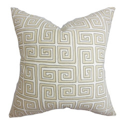 """The Pillow Collection - Klemens Geometric Pillow Natural 18"""" x 18"""" - Spruce up your interiors with this classic and stylish decor pillow. This throw pillow features a traditional Greek key pattern in natural and white hues. Pair up this square pillow with solids and other patterns from our selection of pillows. This 18"""" pillow is constructed with 100% soft cotton material. Hidden zipper closure for easy cover removal.  Knife edge finish on all four sides.  Reversible pillow with the same fabric on the back side.  Spot cleaning suggested."""