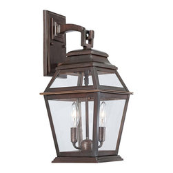 "Minka Lavery - Traditional Crossroads Point 19 1/4"" High Bronze Outdoor Wall Light - Give your outside space a stylish upgrade with this impressive transitional outdoor wall light from Minka in Architectural Bronze finish with clear glass. Its two lights will enhance a porch or wall with comfortable glow and a gracious flair. Minka exterior wall light. Architectural Bronze finish. Clear glass. Takes two 60 watt candelabra bulbs (not included). 8 1/2"" wide. 19 1/4"" high. Extends 9 1/2"" from wall.  Minka exterior wall light.  Architectural Bronze finish.   Clear glass.   Takes two 60 watt candelabra bulbs (not included).   8 1/2"" wide.   19 1/4"" high.   Extends 9 1/2"" from wall."