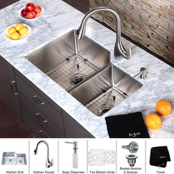 Kraus - Kraus Kitchen Combo Set Stainless Steel Undermount 32-inch Sink/Faucet - This Kraus undermount sink and pullout faucet combo is a great centerpiece for any kitchen remodeling project. The sink is constructed from 16-gauge premium grade T-304 stainless steel. The pullout faucet is made of 100-percent solid stainless steel.