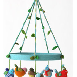 Multi-Birds Mobile - This adorable hand-knitted mobile is a simple way to add color and individuality to your baby's crib area. These dangling fellows will have your baby smiling for the birdie for minutes on end.