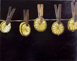 """""""Lemons On Time"""" (Original) By Christine Sauerteig-Pilaar - One Day My Daughter And I Were Slicing Lemons, And She Held It Up To The Sunlight And Asked Me """"Wouldn'T This Make A Nice Painting?"""" After Some Research I Found Out That Lemons Can Symbolize The Passing Of Time. This Feels Like A Poem."""