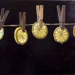 "Lemons On Time (Original) by Christine Sauerteig-Pilaar - One day my daughter and I were slicing lemons, and she held it up to the sunlight and asked me ""Wouldn't this make a nice painting?"" After some research I found out that lemons can symbolize the passing of time. This feels like a poem."