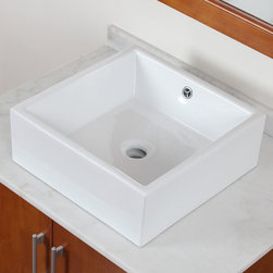 Elite - ELITE High-Temperature Grade A Ceramic Bathroom Sink With Unique Square Design - Brand new technology brings you the modern design style and elegance exemplified by products from ELITE to your bathroom. This grade A ceramic sink will is one of the finer examples of that style and elegance.