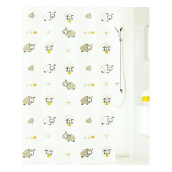Kids Fabric Shower Curtain - Sheep - Your counting sheep have followed you from the bedroom to the bath. In tones of white, gray and yellow, this fun flock seems perfectly content to munch on daisies while you scrub-a-dub-dub. The shower curtain is made of easy-care, machine washable polyester fabric.