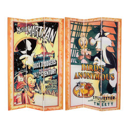 Oriental Furniture - 6 ft. Tall Double Sided Tweety and Marvin the Martian Canvas Room Divider - Sturdy, well-crafted limited edition floor screen printed with authentic poster art from original Looney Tunes cartoon episodes. Daffy Duck and Porky Pig, Sylvester and Tweety Bird, vintage American graphic art images with a colorful, creative decorative impact, ideal for today's casual, eclectic home and office interiors.