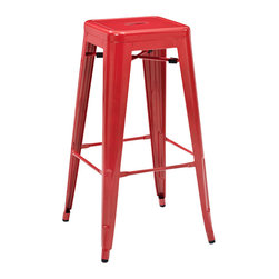 Crosley Furniture - Crosley Furniture Amelia Metal Cafe Barstool in Red - Set of 2 - Originally made famous in the quaint bistros of France, these midcentury replicas of original Cafe tables will offer a dose of nostalgia combined with careful consideration for your wallet.  This inspired revival evokes a sense of a true vintage find. (Sold in Pairs)