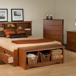 Prepac Furniture - Prepac Monterey 4 Pcs Queen Size Bedroom Set in Cherry (Bed, Two Nightstands and - Stylish Monterey 4 Pcs Queen Size Bedroom Set in Cherry (Bed, Two Nightstands and Dresser) - Prepac Furniture has six spacious drawers (three per side for each occupant) which are ideal for storing bed linens and clothes. Imagine, 6 large extra deep drawers in your bedroom even before you add in your night tables or any chest or dressers! That's what you get with this practically designed, functional, attractive storage bed.    Bedroom Set includes Queen Size Bed with Headboard, two nightstands and Dresser.  Please choose Queen Size Bed in options.  Chest could be added to complete the set.    Features: