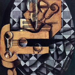 """Juan Gris Guitar, Glasses and Bottle - 16"""" x 24"""" Premium Archival Print - 16"""" x 24"""" Juan Gris Guitar, Glasses and Bottle premium archival print reproduced to meet museum quality standards. Our museum quality archival prints are produced using high-precision print technology for a more accurate reproduction printed on high quality, heavyweight matte presentation paper with fade-resistant, archival inks. Our progressive business model allows us to offer works of art to you at the best wholesale pricing, significantly less than art gallery prices, affordable to all. This line of artwork is produced with extra white border space (if you choose to have it framed, for your framer to work with to frame properly or utilize a larger mat and/or frame).  We present a comprehensive collection of exceptional art reproductions byJuan Gris."""