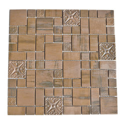 Eden Mosaic Tile - Modern Cobble Pattern Copper Mosaic Tile, 11 Pack - This copper mosaic tile is made with real pieces of copper that have an antique finish. This metal mosaic copper tile features three different sizes of tile, including a large square, small square and medium brick but also features copper accents that have a unique design and texture.