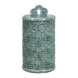 iMax - iMax Kendall Teal Canister- Large X-91252 - Bring a taste of the orient to your home. This large Kendall Teal Canister's vibrant color can brighten your home.