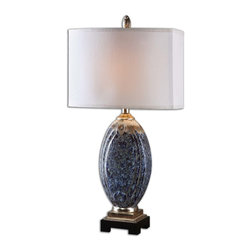 Uttermost - Blue Latah Lamp - Positively illuminating, this gorgeous lamp has a mottled blue base that's highlighted with touches of rust and champagne. Place it atop an end table next to your favorite reading chair or on either end of your sofa for a traditional touch.