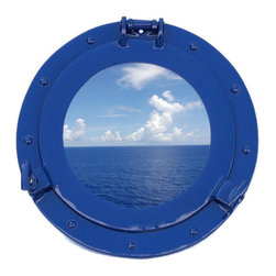 Handcrafted Nautical Decor - Deluxe Class Dark Blue Porthole Window 12'' - This Brass Deluxe Class Porthole     Window 12'' - Dark Blue  adds sophistication, style, and charm for those        looking  to   enhance       rooms with a nautical theme. This  boat      porthole   has a   sturdy,  heavy and      authentic  appearance, and is      made of brass and  glass which can easily be  hung to grace any    nautical    theme wall. Our nautical   porthole  window     makes  a   fabulous style    statement in any room  with     its classic  round        frame, nine    metal-like rivets and two  dog   ears.   This marine    porthole mirror        has an 8'diameter and  3'deep when dog-ears are    attached, 1.5'' deep    without dog ears    attached.----Dimensions: 12'Long x 3'Wide x 12'High--NOTE: This is a decorative porthole window (the     center is clear glass which can be left in port hole or taken out).     Mounting hardware not included with purchase.----    Functional porthole window that will open and close by loosening dog ears--    --    Handcrafted from solid brass and hand-painted a dark blue finish by our master artisans--    Decorative yet fully functional port hole window decoration--    Realistic nautical decor - modeled after an antique 19th-century ship's porthole--    --    Great porthole wall decor and an instant conversation piece--