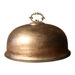 BoBo's Intriguing Objects - Serving Dome #2 - Voilà! This antique-style serving dome adds a classy flourish to dinner service, both on and for the big reveal. Made from hand-hammered brass with an antique silver finish, it's delicately beaded around the edge and on the handle.