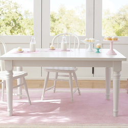 Farmhouse Large Table, Simply White - This classic rectangular table with simple spindle-backed chairs would look great in any style kitchen.