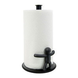 Clean Hug Paper Towel Holder - Give your paper towels a cool place to stand with the Clean Hug Paper Towel Holder. Its soft-black finish won't distract from your décor, while its unique construction allows for one-handed tearing.