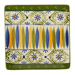 Signature Housewares Incorporated - 6.75 in. Stoneware Plate - Set of 4 - Set of 4. Hand painted. Lead free. Microwave and dishwasher safe. Durable. Easy to care. Multicolor. 6.75 in. W x 6.5 in. D x 2.75 in. H (3.1 lbs.)