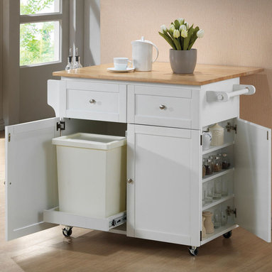Coaster - 900558 Kitchen Cart - This kitchen cart has a spice rack with a push open door. Crafted of solid rubberwood with a butcher block work surface. This unit will make your life easier with its towel and spice rack, hidden cabinet for trash and casters for mobility.