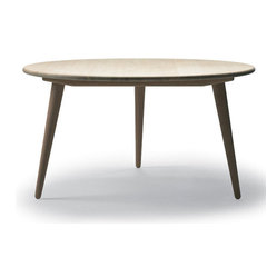 Carl Hansen & Son - Wegner CH008 Table White Oiled Oak Top, by Carl Hansen - The work of renowned Danish modern master Hans J. Wegner, this three-legged oiled oak table will grace your space with easy elegance. The simple design dates back to 1954 and has been a classic ever since.