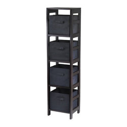 Winsome Trading, INC. - Winsome Wood Capri 4-Section N Storage Shelf - 92241 ,Espresso/Black - Winsomes Capri wood 4 tier space saving shelf is finished in a warm espresso stain and ships with 4 black fabric folding baskets to make storage organized and classy looking.
