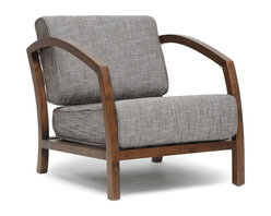 """Baxton Studio - Baxton Studio Velda Brown Modern Accent Chair - Sit low in the H style of our Velda Modern Lounge Chair. This contemporary twist on the classic arm chair features a solid rubberwood frame with medium brown finish. Comfortable foam-padded seat cushions are topped with a brown woven fabric blend of 80% cotton and 20% polyester. Both the seat cushion and the back cushion are removable and should be spot cleaned when necessary.  The Velda Designer Living Room Chair is made in Malaysia and requires assembly. seat'sions: 16.5"""" H x 23.5"""" W x 20.5"""" DDimensions: 29"""" H x 26.3"""" W x 32.75"""" D"""
