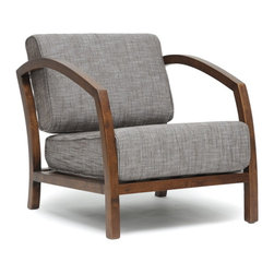 Baxton Studio - Baxton Studio Velda Brown Modern Accent Chair - Sit low in the H style of our Velda Modern Lounge Chair. This contemporary twist on the classic arm chair features a solid rubberwood frame with medium brown finish. Comfortable foam-padded seat cushions are topped with a brown woven fabric blend of 80% cotton and 20% polyester. Both the seat cushion and the back cushion are removable and should be spot cleaned when necessary. The Velda Designer Living Room Chair is made in Malaysia and requires assembly.