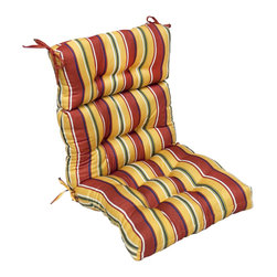 None - 44x22-inch 3-section Outdoor Carnival High Back Chair Cushion - Dress up your outdoor furniture with this cheerful 'Mayan Stripe' high back chair cushion. The brightly colored cushion is weather resistant and features UV protection for lasting durability.