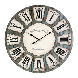 "Rustic Blue Gray Wood 24""  Wall Clock - *Modem clock offers some traditional design features, this clock is perfect anywhere from industrial décor to shabby chic"