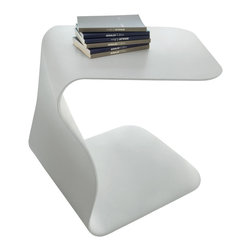 Bonaldo - DUFFY Side Table, White - The transformation of a sinuous and well-balanced shape into an elegant structural element. The Duffy table is made of high density polyurethane lacquered matt in white, and anthracite grey.