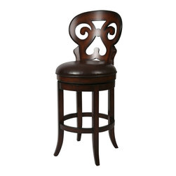 """Pastel Furniture - Pastel Hermosa Barstool - Russet Cordovan - Stallion Brown Seat - 30 Inch - This swivel barstool features a quality wood frame with sturdy legs and foot rest finished in russet cordovan. The padded seat is upholstered in stallion brown offering comfort and style. Available in 26"""" counter or 30"""" bar height."""