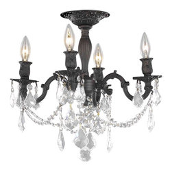 Elegant Lighting - 9204 Rosalia Collection Dark Bronze Finish Elegant Cut Crystals Flush Mount - Elegant lighting for gracious living, Rosalia chandeliers are a lustrous departure in crystal design.  Beginning with the solid brass sculptured and finely detailed frame, this series may be dressed up or down to fit in many rooms.