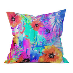 DENY Designs - Holly Sharpe Hawaiian Heat Outdoor Throw Pillow - Do you hear that noise? it's your outdoor area begging for a facelift and what better way to turn up the chic than with our outdoor throw pillow collection? Made from water and mildew proof woven polyester, our indoor/outdoor throw pillow is the perfect way to add some vibrance and character to your boring outdoor furniture while giving the rain a run for its money.