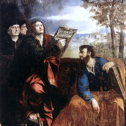 """Dosso Dossi Sts John and Bartholomew with Donors   Print - 16"""" x 24"""" Dosso Dossi Sts John and Bartholomew with Donors premium archival print reproduced to meet museum quality standards. Our museum quality archival prints are produced using high-precision print technology for a more accurate reproduction printed on high quality, heavyweight matte presentation paper with fade-resistant, archival inks. Our progressive business model allows us to offer works of art to you at the best wholesale pricing, significantly less than art gallery prices, affordable to all. This line of artwork is produced with extra white border space (if you choose to have it framed, for your framer to work with to frame properly or utilize a larger mat and/or frame).  We present a comprehensive collection of exceptional art reproductions byDosso Dossi."""