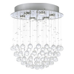 "The Gallery - Modern Raindrop Chandelier With Crystals - 100% crystal chandelier. A excellent Crystalixture for your foyer, dining room, living room and more! This fixture features beautiful 100% crystals Balls that capture and reflect the light. Truly a stunning chandelier, this chandelier is sure to lend a special atmosphere anywhere it is placed. Collection: G902 Modern Collection. W18"" H21"""