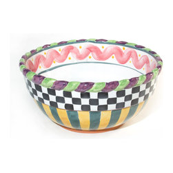 Piccadilly Mixing Bowl - Large | MacKenzie-Childs - Blend boldly in our delightful Piccadilly Large Mixing Bowl. This majolica silhouette, features a generous bowl and braided rim. Hand-painted by our master artisans with a delightful design of stripes, squiggles, spots, and checks in carnival colors, this jovial bowl ensures that the kitchen prep work will be as fun as eating the end result. Our artisans sculpt each piece of red, terra cotta, carefully braiding the roped edges. Their master brushes hand-paint carnival colors to infuse this mixing bowl with big top merriment in its journey from our ovens to yours. And whether the next stop is your table or the judge's table, these jovial pieces are versatile as they are vivacious. Polish off the last slice of your famous cobbler or casserole and pop this line right into the dishwasher. A blue ribbon winner by anyone's measure. Each handcrafted piece bears the stamps of the artisans who created it. Oven and dishwasher friendly.